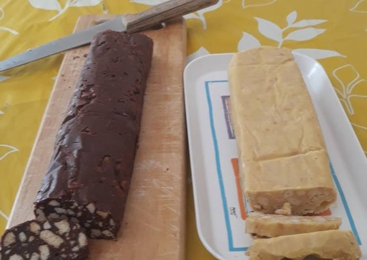 Ricetta Salame di cioccolato fondente e bianco