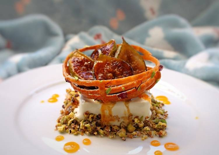 Ginger and Bay Leaf Ice Cream, Saffron Honey Jalebi, Nut Crumb and Grilled Fresh Figs