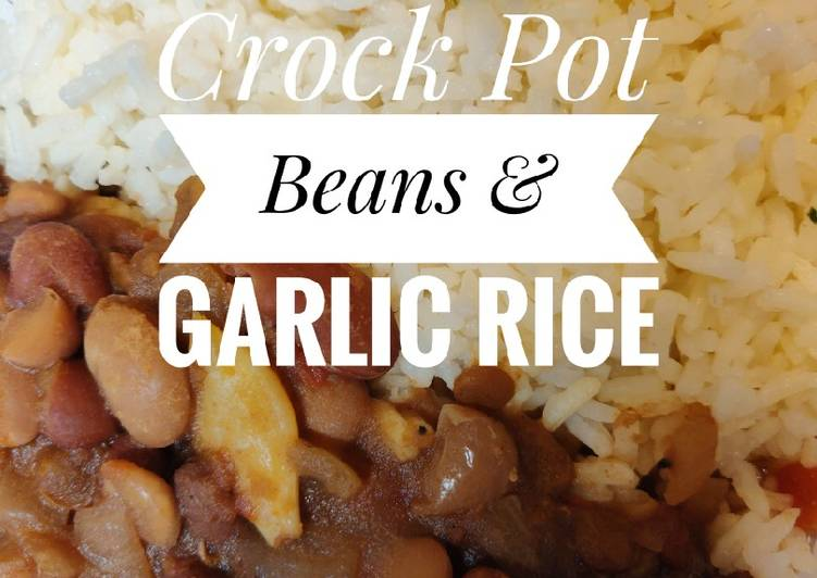 5 Minute Recipe of Vegan Vegan Crock pot Beans & Garlic Rice 🍚