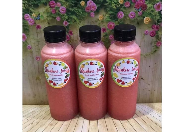 Cara membuat Diet Juice Passion Fruit Watermelon Strawberry Pear