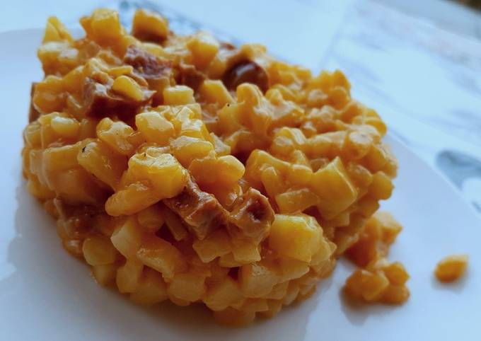 Pomme de terresotto ou risotto de pomme de terre au chorizo