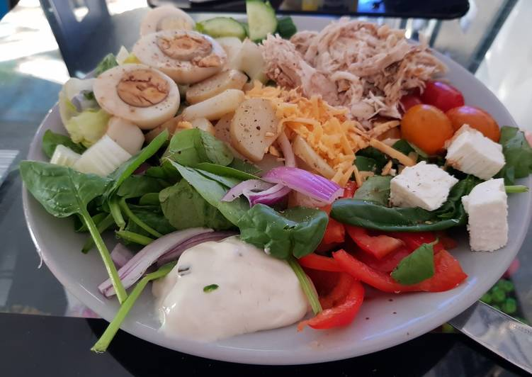 My Super Salad with tasty Chicken Eggs,2 cheese. With Sour cream