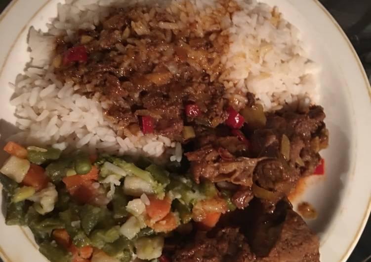 Rice, Mixed Veg & Beef stew