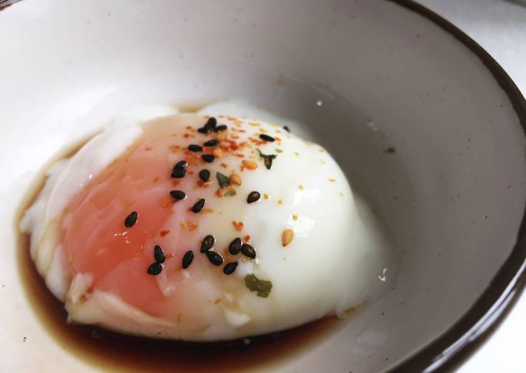 Sous vide poached egg with soy sauce and shichimi