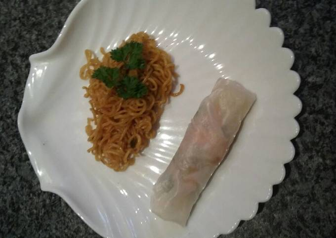 Almost authentic spring rolls with thai baked soba noodles