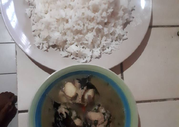 White rice with catfish and bitter leaf pepper soup