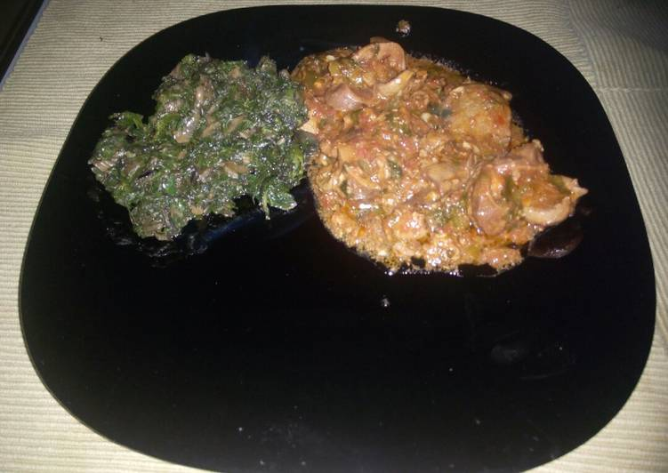 Recipe of Award-winning Wet fried gizzard and spinach…#local food contest.Mombasa