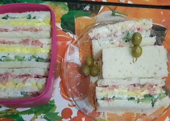 Three layered/three coloured sandwiches#healty food