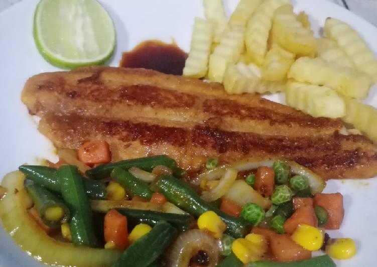 Grilled dori with fries