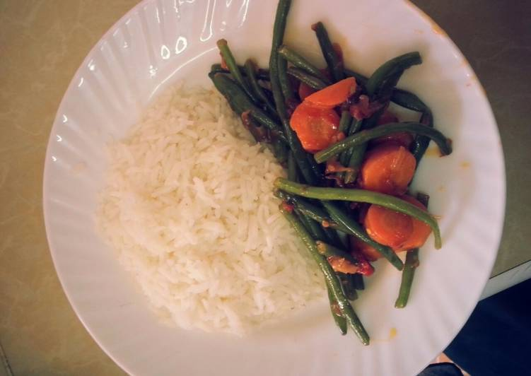 Easiest Way to Prepare Super Quick Homemade Rice and French beans