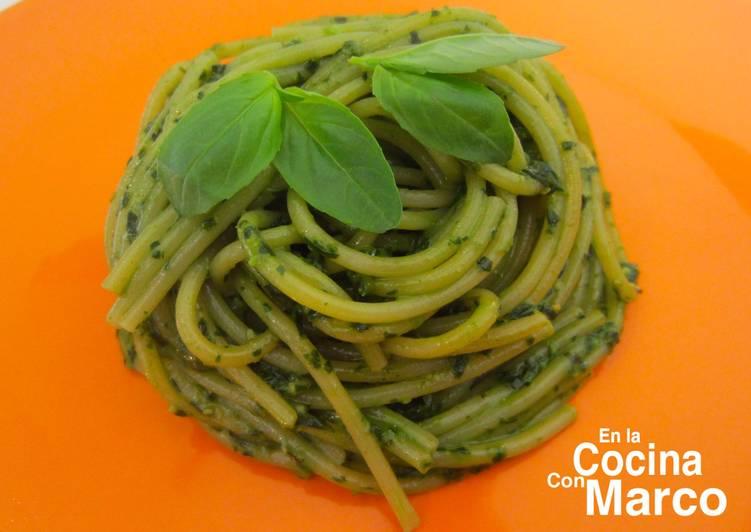 Espagueti Verde Italiano Spaghetti Al Pesto Genovese Receta