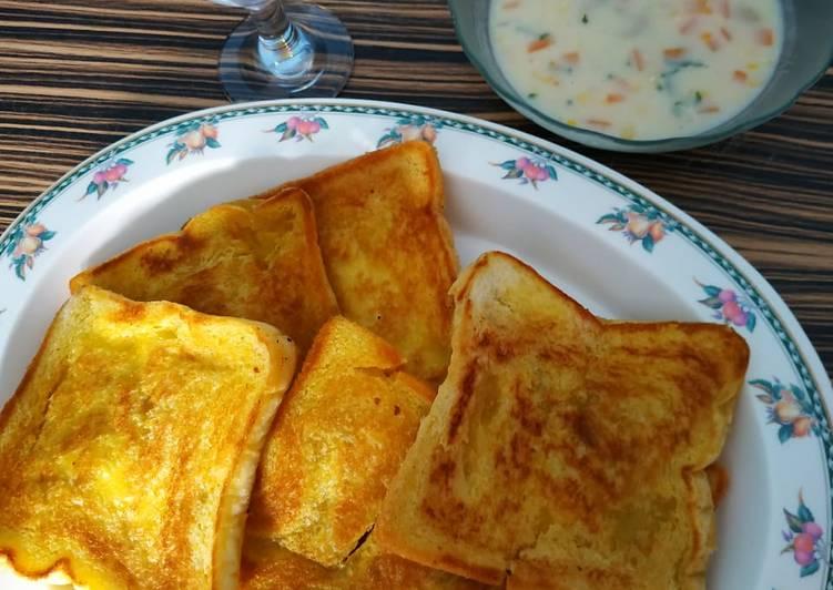 Soup Cream ala Kfc + Roti panggang
