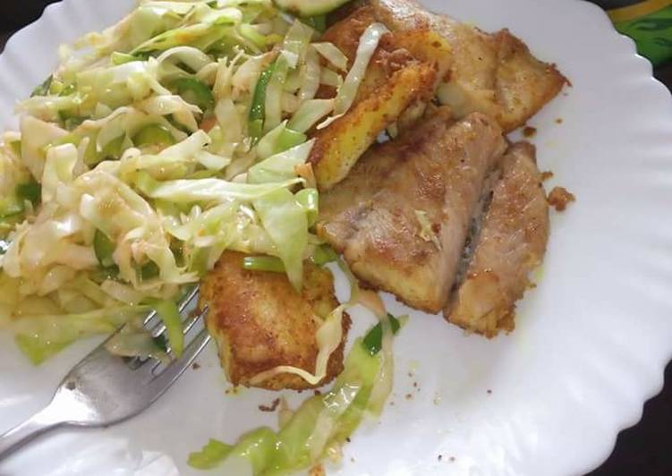 Steps to Prepare Most Popular Fried fish fillet and fries cabbages