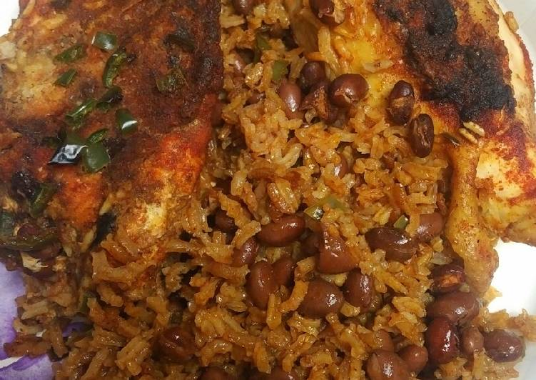 Recipe: Appetizing Pink Beans, Rice and Chicken; Oven