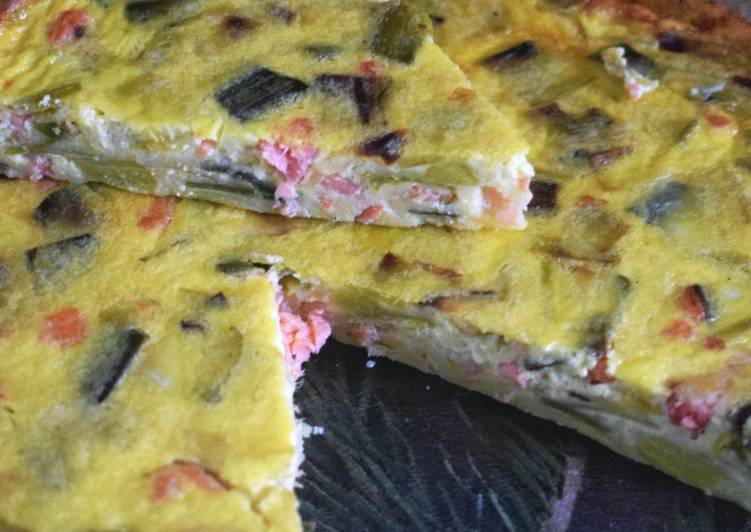 Quiche sans pâte poireaux saumon fumé #janvier