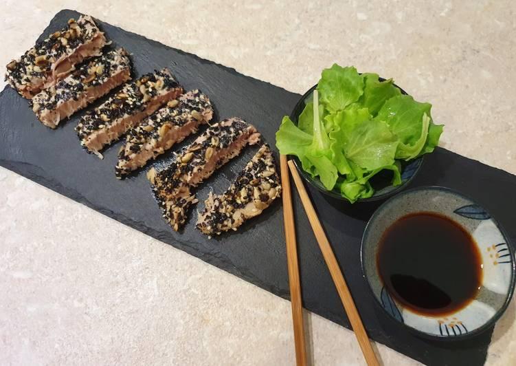 Ricetta Tagliata di tonno alla piastra in crosta di semi