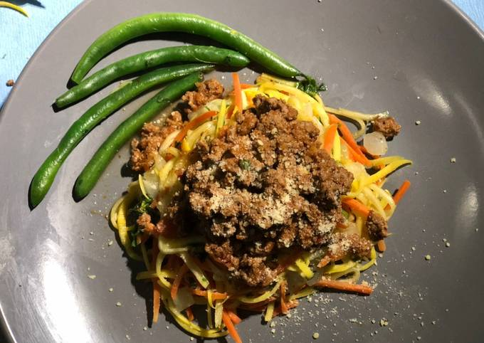 Easiest Way to Prepare Tasty Yellow Squash Pasta with Ground Beef and Vodka Sauce