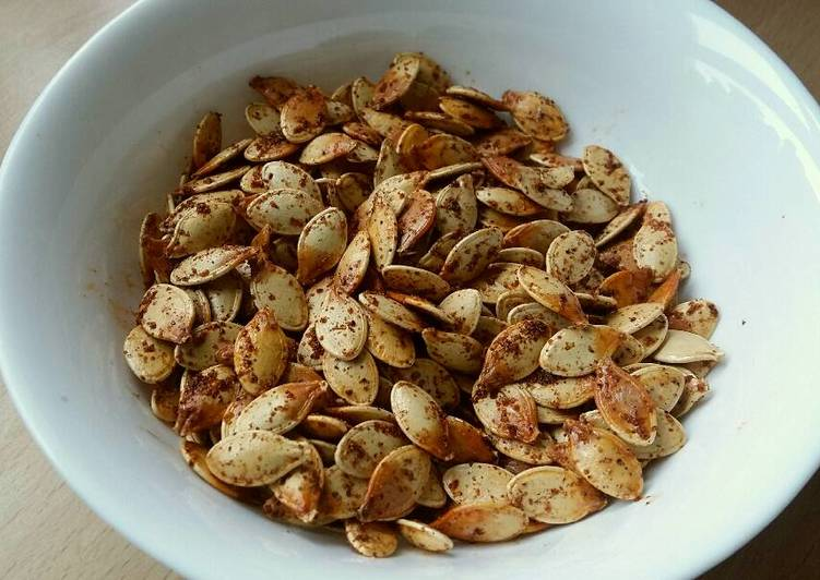 Recipe of Any-night-of-the-week Vickys Garlic & Paprika Roasted Pumpkin Seeds, GF DF EF SF NF