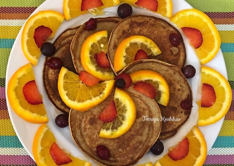 Brown rice oat orange pancakes