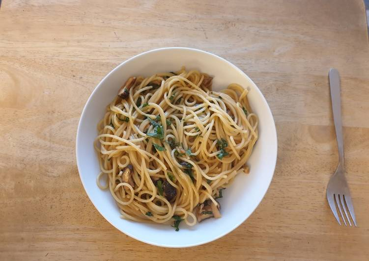 Miso Butter Spaghetti with Shiso & Shiitake