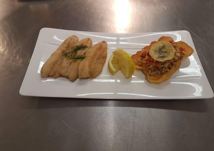 Filet de poisson et sa tartalette pommes de terre au botet