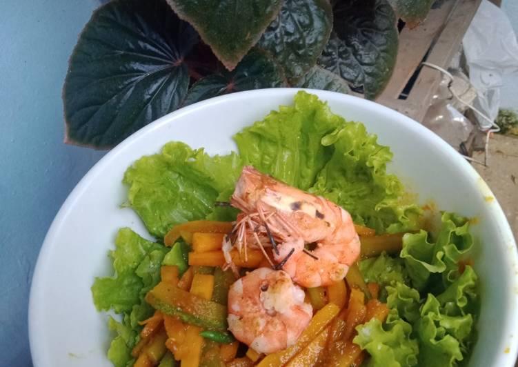 Acar Kuning Udang Panggang (Menu Diet / Rendah Kalori)