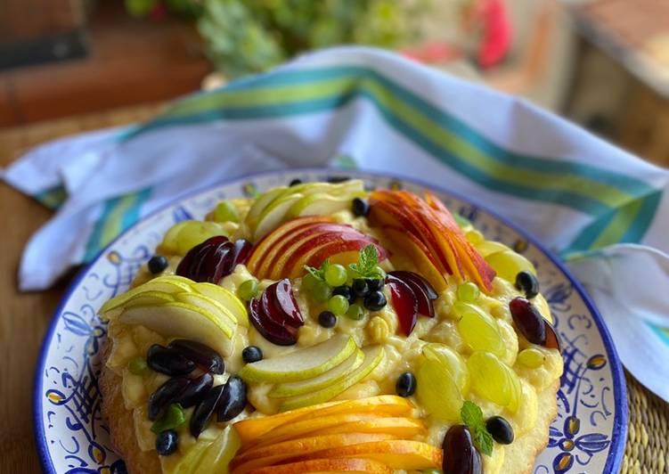 Crostata Morbida alla frutta 🍐🍇🍑 e crema pasticcera all'arancia 🍊