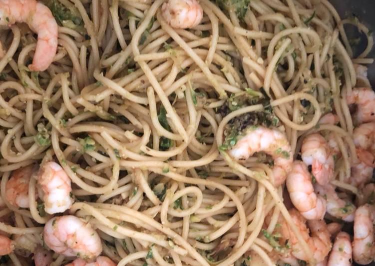 Comment Préparer Des Spaghettis courgettes crevettes