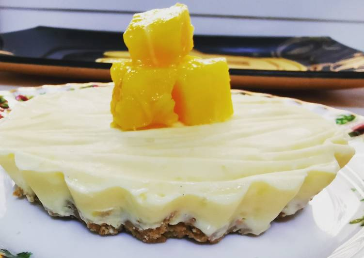 Easiest Way to Prepare Quick Single Serving Frozen Mango Sorbet Cheesecake (no bake)