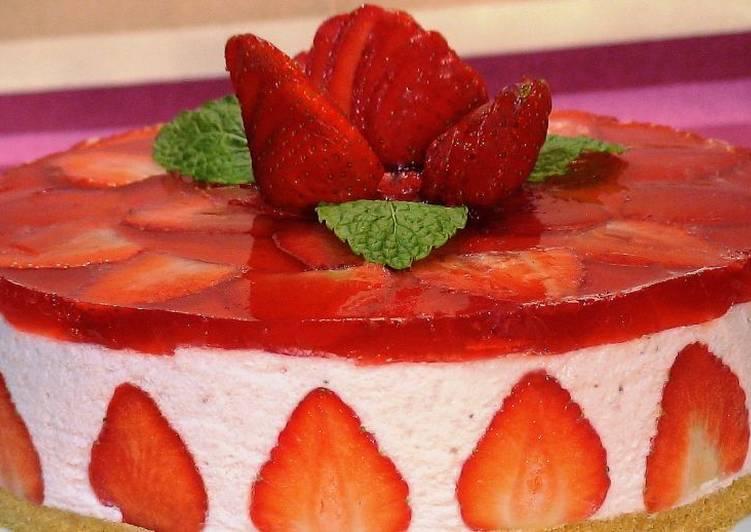 Tarta fría de fresas