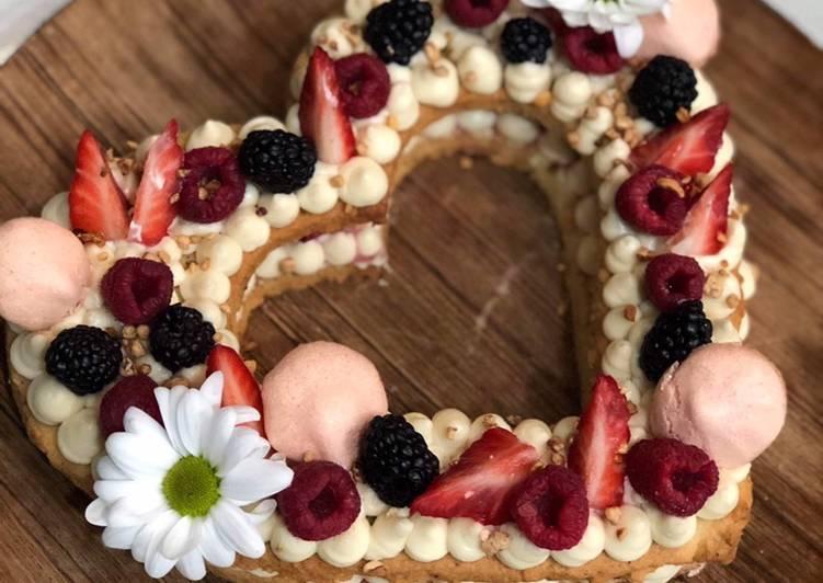 Recettes Number cake en forme de cœur