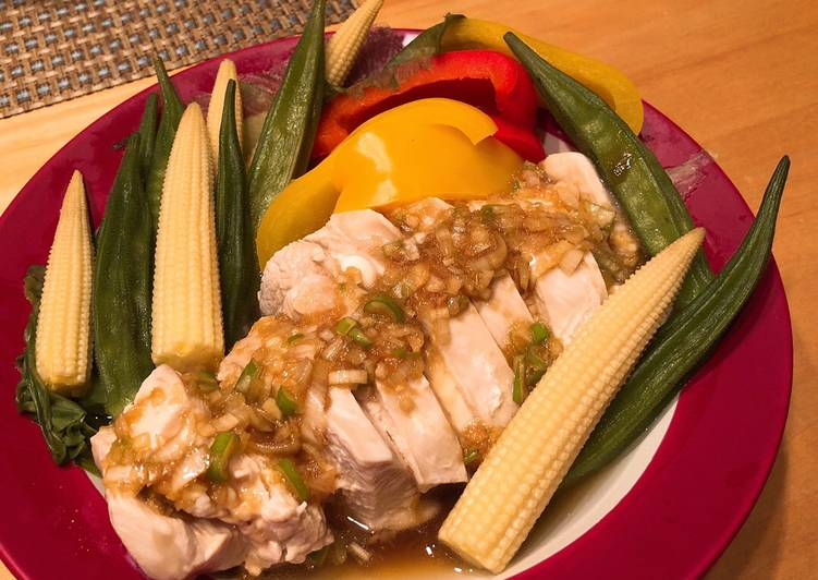 Steps to Make Quick Steamed chicken & vegetables with Asian style sauce