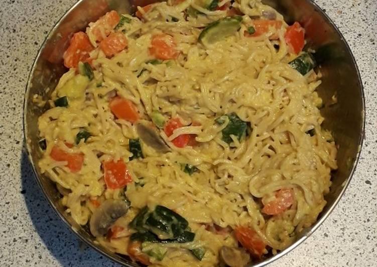 Nouille chinoise au lait de coco et légumes