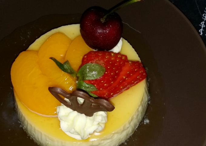 Puding 🍮Caramel Pudding dengan Buah-buahan🍓🍒🍫🍑