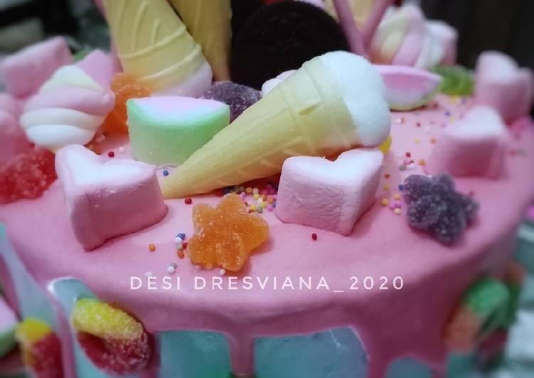 Bagaimana Cara Memasak Lezat Rainbow Cake Base Cake Ultah