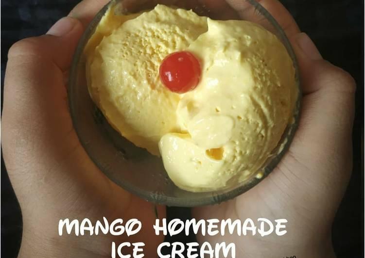 Mango homemade ice cream