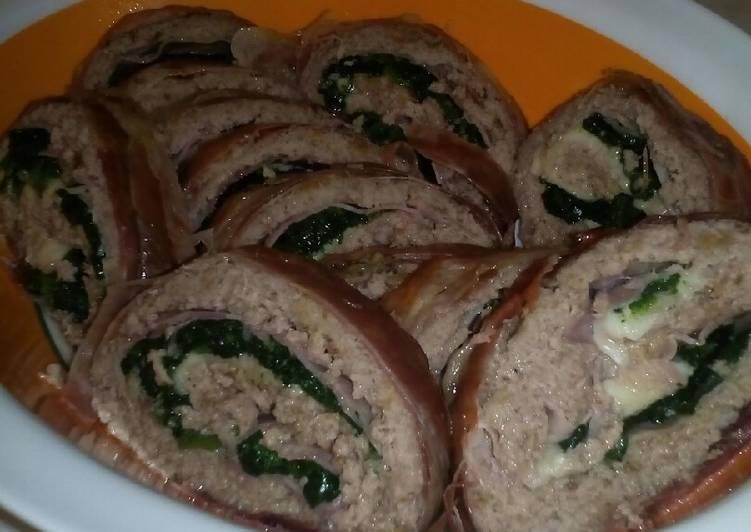Polpettone con mozzarella, spinaci e prosciutto cotto
