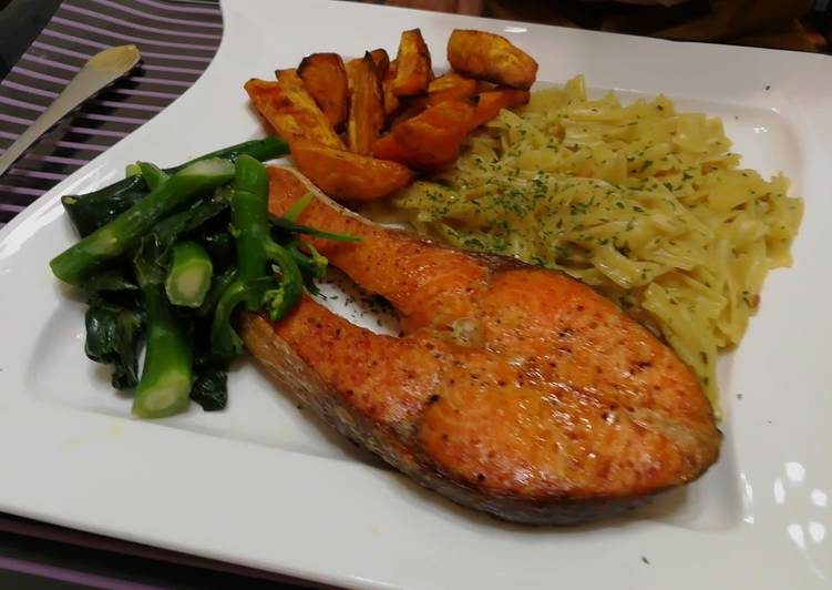 Recipe of Speedy Dried Scallop Pasta With Baked Salmon Steak And Baked Sweet Potato In Coconut Oil