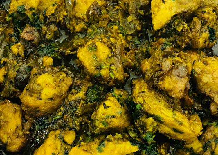Recipe: Appetizing Fresh Methi Chicken (Murgh Curry)