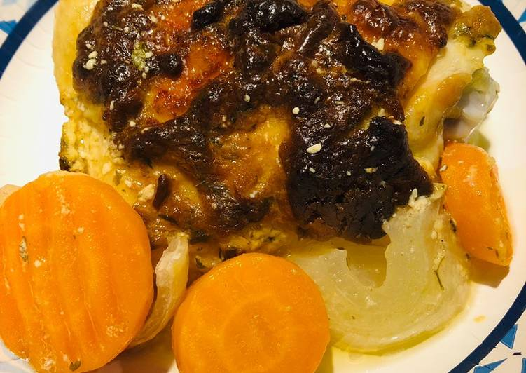 Roasted Dijon Chicken 🍗 with Carrots 🥕 and Onions 🧅