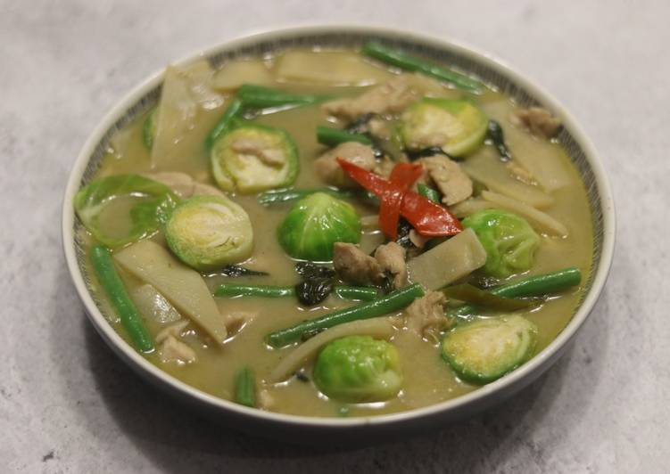 Thai green curry with brussel sprouts