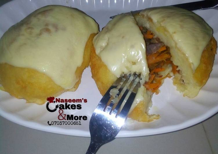 Quick and Easy Fry & baked potato bounced with cheese