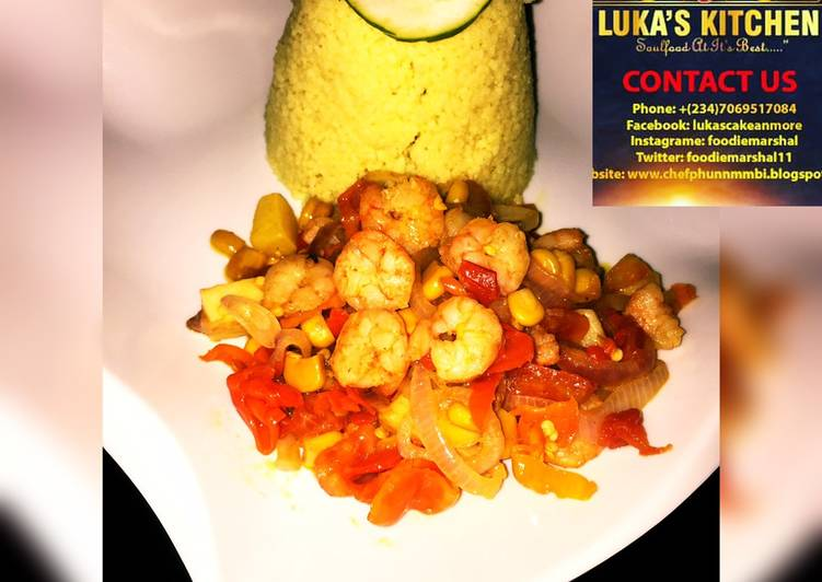 Couscous Served-with Stir-fried Garlic Shrimp