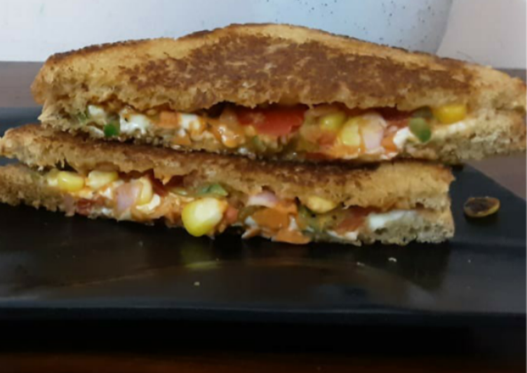 Recipe of Homemade Pizza Vegetables sandwich