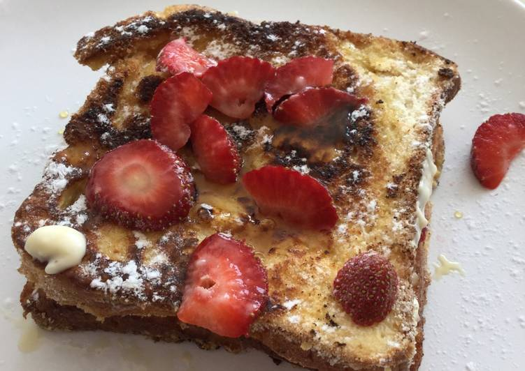 Recipe of Super Quick Homemade Breakfast french toast with strawberries