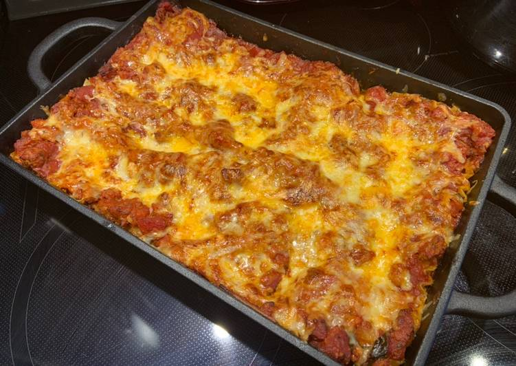 recette Lasagne sauce spaghetti au chorizo délicieux