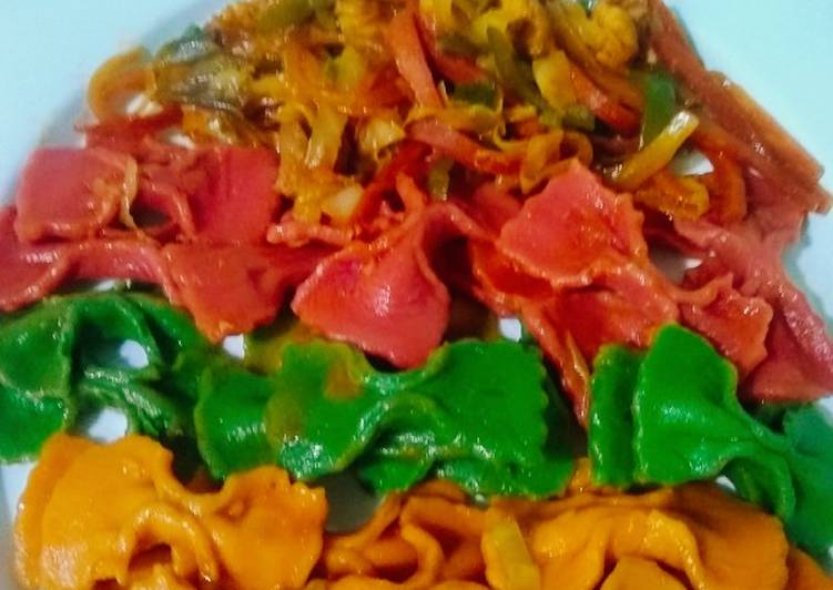 Recipe of Any-night-of-the-week Super Spicy Farfalle veggie Pasta. (homemade)