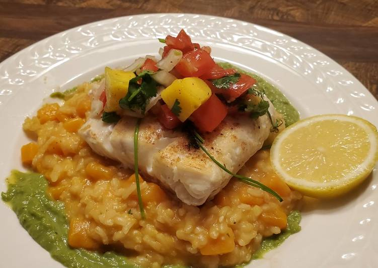 5 Minute Steps to Make Refreshing Brad's halibut w/ mango salsa