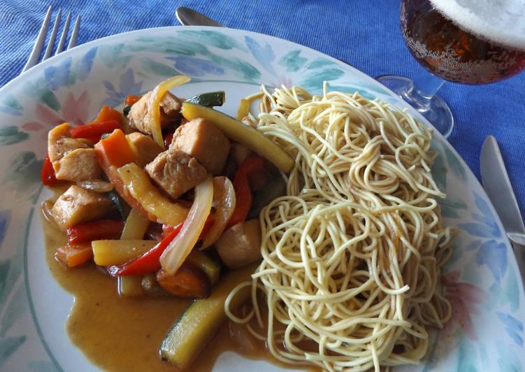Wok vegetariano sencillo con noodles