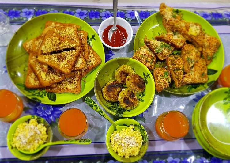 What is Dinner Ideas Super Quick Homemade Masala toast, garlic cheese toast,poha cutlet and egg halwa